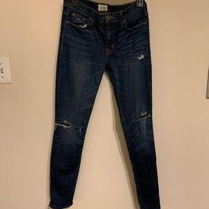 Distressed Hudson Skinny/Straight Jeans